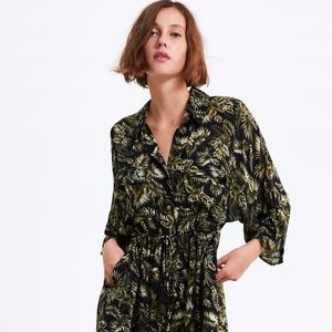 ZARA Printed Long Shirt Dress with Belt